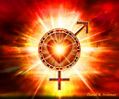 heart of fire and male and female alchemical symbols