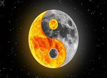 Moon and sun inside yin yang symbol